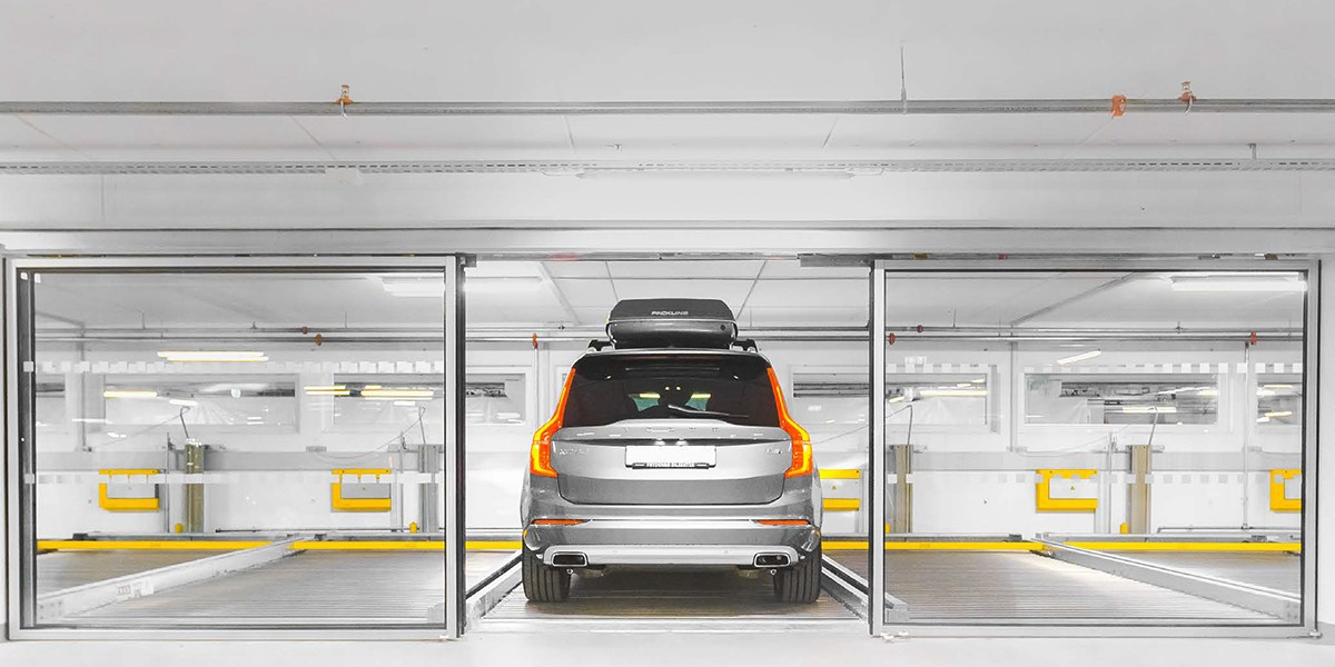 דלת הזזה יוקרתית עם זכוכית למתקן חניה חצי אוטומטי