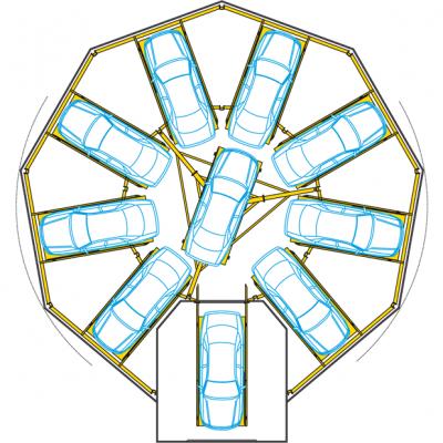 מגדל חניה אוטומטי לתצוגת רכבים
